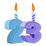 23 years birthday. Number with festive candle for holiday cake. Twenty three Anniversary stock illustration