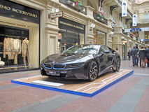 100 years of the BMW. The State Department Store. Moscow. BMW i8 Stock Photography
