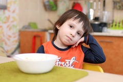 4 years boy dont want to eat fruit salad Stock Image