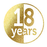 18 years. In bright gold Royalty Free Stock Photo