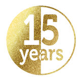 15 years. In bright gold Vector Illustration