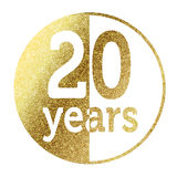 20 years. In bright gold Royalty Free Stock Photos