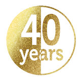 40 years. In bright gold Royalty Free Stock Image