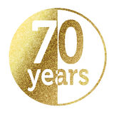 70 years. In bright gold vector illustration