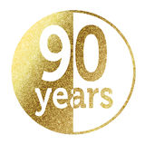 90 years. In bright gold Royalty Free Stock Photo