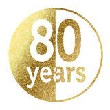 80 years. In bright gold Stock Images