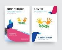 10 years brochure flyer design template. With abstract photo background, minimalist trend business corporate roll up or annual report Stock Photos