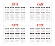 Years 2019 2020 2021 2022 calendars. Set of minimalist calendars, years 2019 2020 2021 2022, weeks start Sunday, on white background - Vector templates Royalty Free Stock Images