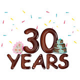 30 years celebrating colored card. Vector illustration Stock Photo