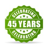 45 years celebrating green vector icon. Illustration isolated on white background Royalty Free Stock Images