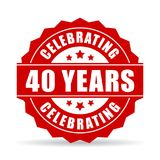 40 years celebrating vector icon. Isolated on white background Stock Photography
