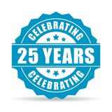 25 years celebrating vector icon. Isolated on white background Stock Photography