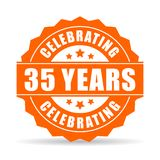 35 years celebrating vector icon. Isolated on white background Royalty Free Stock Photo
