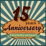 15 years celebration, anniversary retro style card. 15 years celebration, 15th happy anniversary retro style card Royalty Free Stock Photo