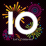 10 Years Celebration Design with Fireworks. A colourful design for a 10 year celebration Royalty Free Stock Images