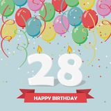 28 years celebration. Happy Birthday greeting card. With candles, confetti and balloons Stock Images