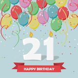 21 years celebration. Happy Birthday greeting card. With candles, confetti and balloons Royalty Free Stock Photos