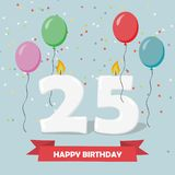 25 years celebration. Happy Birthday greeting card. With candles, confetti and balloons Stock Images