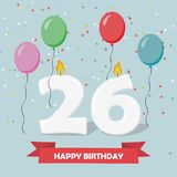 26 years celebration. Happy Birthday greeting card. With candles, confetti and balloons Stock Images