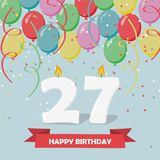 27 years celebration. Happy Birthday greeting card. With candles, confetti and balloons Royalty Free Stock Photos