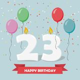 23 years celebration. Happy Birthday greeting card. With candles, confetti and balloons Stock Photos