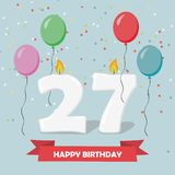 27 years celebration. Happy Birthday greeting card. With candles, confetti and balloons Royalty Free Stock Photography