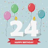 24 years celebration. Happy Birthday greeting card with candles. Confetti and balloons Stock Photos