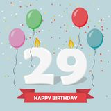 29 years celebration. Happy Birthday greeting card. With candles, confetti and balloons Royalty Free Stock Photography