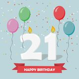 21 years celebration. Happy Birthday greeting card. With candles, confetti and balloons Royalty Free Stock Photography