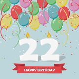 22 years celebration. Happy Birthday greeting card. With candles, confetti and balloons Royalty Free Stock Image