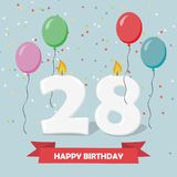 28 years celebration. Happy Birthday greeting card. With candles, confetti and balloons Royalty Free Stock Images