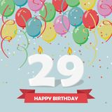29 years celebration. Happy Birthday greeting card. With candles, confetti and balloons Royalty Free Stock Photo