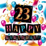23 years celebration. Happy Birthday greeting card. With candles, confetti and balloons Royalty Free Stock Image
