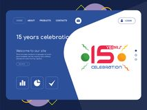 15 years celebration Landing page website template design. Quality One Page 15 years celebration Website Template Vector Eps, Modern Web Design with flat UI Stock Image