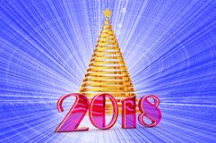 2018 years Christmas tree from shiny gold ribbon with a gold star, template elements for your gift card, calendar, certificate, po. Stcard, 3d illustration Royalty Free Stock Photos