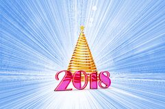 2018 years Christmas tree from shiny gold ribbon. With a gold star, template elements for your gift card, calendar, certificate, postcard, 3d illustration Royalty Free Stock Photo