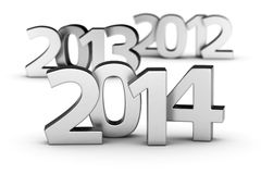 2012, 2013, 2014 years. Chrome digits 2012, 2013 and 2014 on the white background Royalty Free Stock Images