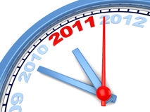 Years clock. Abstract 3d illustration of years clock with 2011 red Stock Images