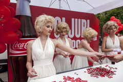 100 years of Coca Cola bottle. All over the world Coca Cola is celebrating 100 years of their bottle design. For the celebration they used Marlyn Monroe look royalty free stock photography