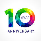 10 years colored. 10 years old celebrating colored logo. Anniversary year of 10 th vector template numbers. Happy birthday greetings celebrates. Stained-glass Royalty Free Stock Photos