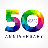 50 years colored. 50 years old celebrating colored logo. Anniversary year of 50 th vector template numbers. Happy birthday greetings celebrates. Stained-glass Royalty Free Stock Images