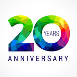 20 years colored. 20 years old celebrating colored logo. Anniversary year of 20 th vector template numbers. Happy birthday greetings celebrates. Stained-glass Stock Photos