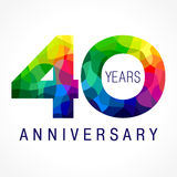 40 years colored. 40 years old celebrating colored logo. Anniversary year of 40 th vector template numbers. Happy birthday greetings celebrates. Stained-glass Stock Illustration