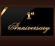 1 years Decorative anniversary golden label with ribbon - vector illustration Royalty Free Stock Image