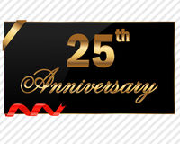 25 years Decorative anniversary golden label with ribbon - vector illustration Royalty Free Stock Images