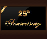25 years Decorative 25th anniversary golden label with ribbon - vector illustration Stock Photos