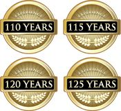 Years Of Experience. Collection of 110, 115, 120 and 125 years of experience gold labels stock illustration