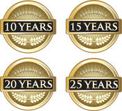 Years Of Experience. Collection of 10, 15, 20 and 25 years of experience gold labels stock illustration