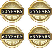 Years Of Experience. Collection of 50, 55, 60 and 65 years of experience gold labels vector illustration