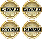 Years Of Experience. Collection of 90, 95, 100 and 105 years of experience gold labels royalty free illustration